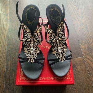 Rene Caovilla Black Stone Strapped Sandals size 41